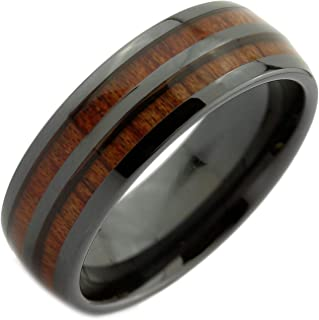 Black Ceramic 8mm Wedding Band 2 Natural Koa Wood Inlays Comfort Fit Ring