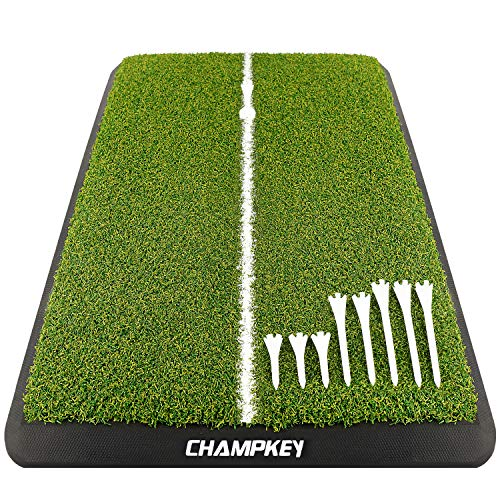 Champkey AGT Golf Hitting Mat | Heavy Duty Rubber Base Golf Practice Mat | Come with 1 Rubber Tee and 9 Plastic Tees
