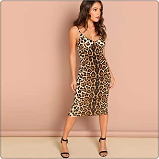 Anzhuangh Multicolor Sexy Party Backless Leopard Print Cami Sleeveless Pencil Skinny Club Dress