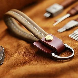 Elegdy Key Ring Genuine Leather Car Keychain Creative Design Cowhide Key Rope for Car Key Fastener High Quality (Color : B...