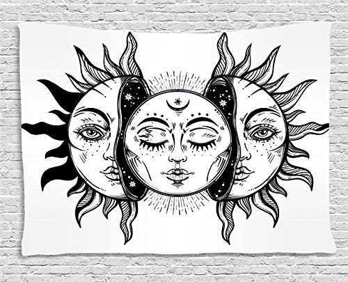 Ambesonne Moon Tapestry, Monochrome Sun and Moon Pattern Oriental Image Culture Inspired Design Print, Wide Wall Hanging for Bedroom Living Room Dorm, 60' X 40', White Black