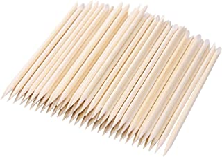 BTYMS 200pcs Orange Wood Stick Cuticle Pusher Remover Nail Art Manicure Pedicure Tool, 4.5in