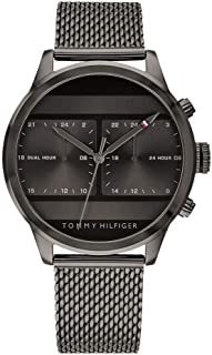 Tommy Hilfiger 1791597 Mens Quartz Watch, Analog Display and Stainless Steel Strap, Black