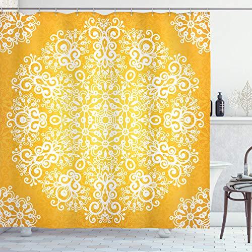 ABAKUHAUS Gelb Duschvorhang, Floral Schneeflocken, Leicht zu pflegener Stoff mit 12 Haken Wasserdicht Farbfest Bakterie Resistent, 175 x 180 cm, Gelb & Weiß