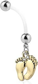 Pregnancy Belly Button Ring 14G Long Dangle Flexible Bioflex Bar Maternity Body Jewelry