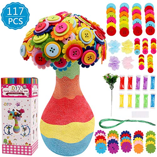 DigHealth Crafting Kit para Niño, Kit de Artesanía, DIYFlorero con Ramo de Botones y Flor De Tela para Niñas Niños Edad 4 5 6 7 8 9 10 12 años