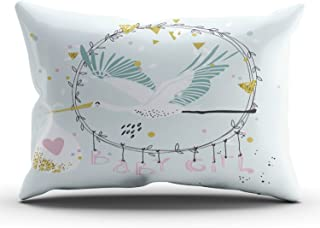 THUONY Bedroom Home Decor Baby Girl with Stork Throw Pillow Cover Cushion Case Fashion One Side Printed Lumbar 12x24 Inches (Set of 1)