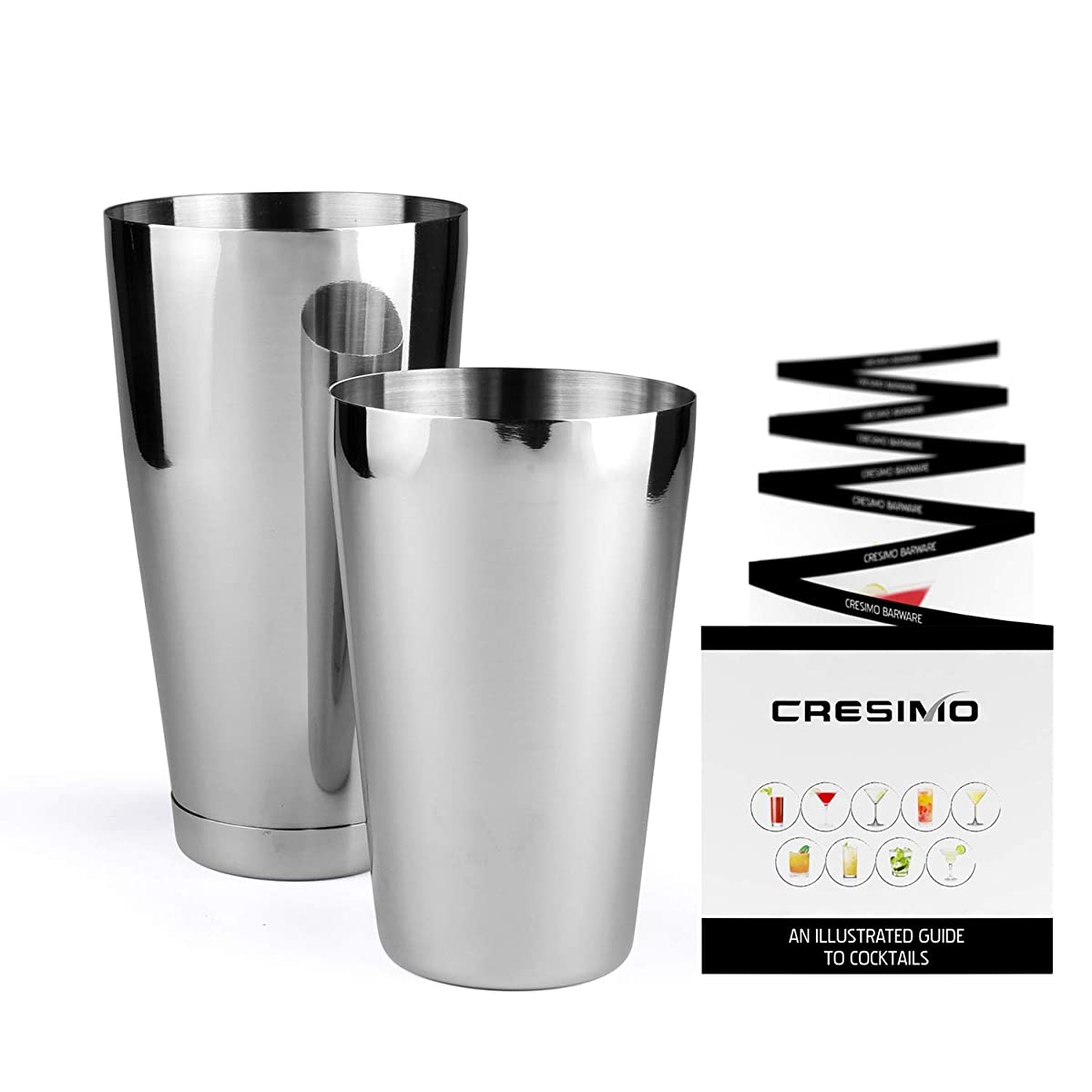 Boston Shaker Cocktail Making Set:18oz Unweighted & 28oz Weighted Professional Bartender Cocktail Shaker Set by Cresimo