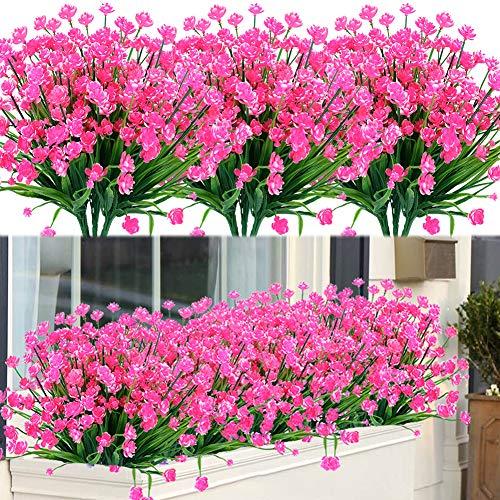 GLAAPER 8 Bundles Fake Artificial Flowers Outdoor for Decoration UV Resistant No Fade Faux Plastic Plants Garden Porch Window Box Décor Kitchen Office Table Vase(Pink)