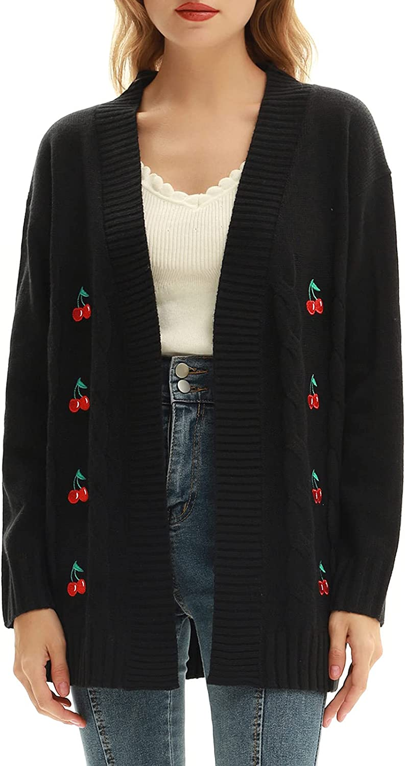 Belle Poque Womens Open Front Cardigan Long Cable Knit Cherry Cardigan Sweater