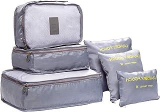 Organizador de Equipaje 6 en 1 Set Viaje con Bolsa de Zapato, Impermeable Organizador de Maleta Bolsa para Ropa Sucia de Viaje, Material Nylon (Gris)