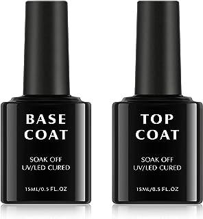 2 * 15ml Base en Top Coat, TOMICCA No Wipe Base Coat Top Coat Set Glanzend voor Gel Nagels Nail Art Manicure Set