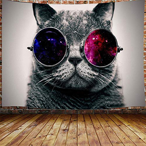 """JAWO Cool Cat Tapestry, Black Gray Cat with Galaxy Sunglasses Tapestry Wall Hanging for Bedroom, Animal Hippie Tapestry Beach Blanket College Dorm Home Decor (71"""" W X 60"""" H)"""