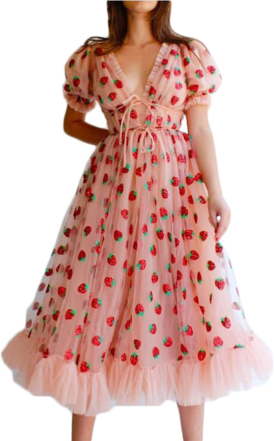 Dpnhyo Sexy V-Neck Lace Up Dress for Women Strawberry Sweet Mesh Yarn Sleeve Princess Dress Embroidered Cocktail Party