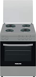 Nikai Electric Cooking Range 4-burner With Electric Oven Size 60 X 60 cm Silver Color With Silver Top And Glass Lid Model-...
