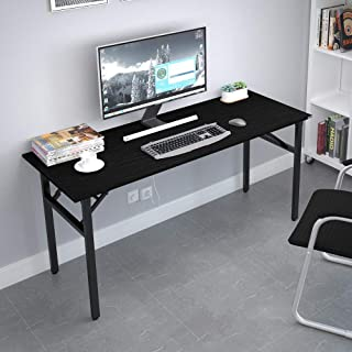 """Need Home Office Desk - 62 Inches Large Computer Desk Sturdy Black Table Foldable Desk Gaming Computer Table No Assembly Required AC5CB 62"""""""