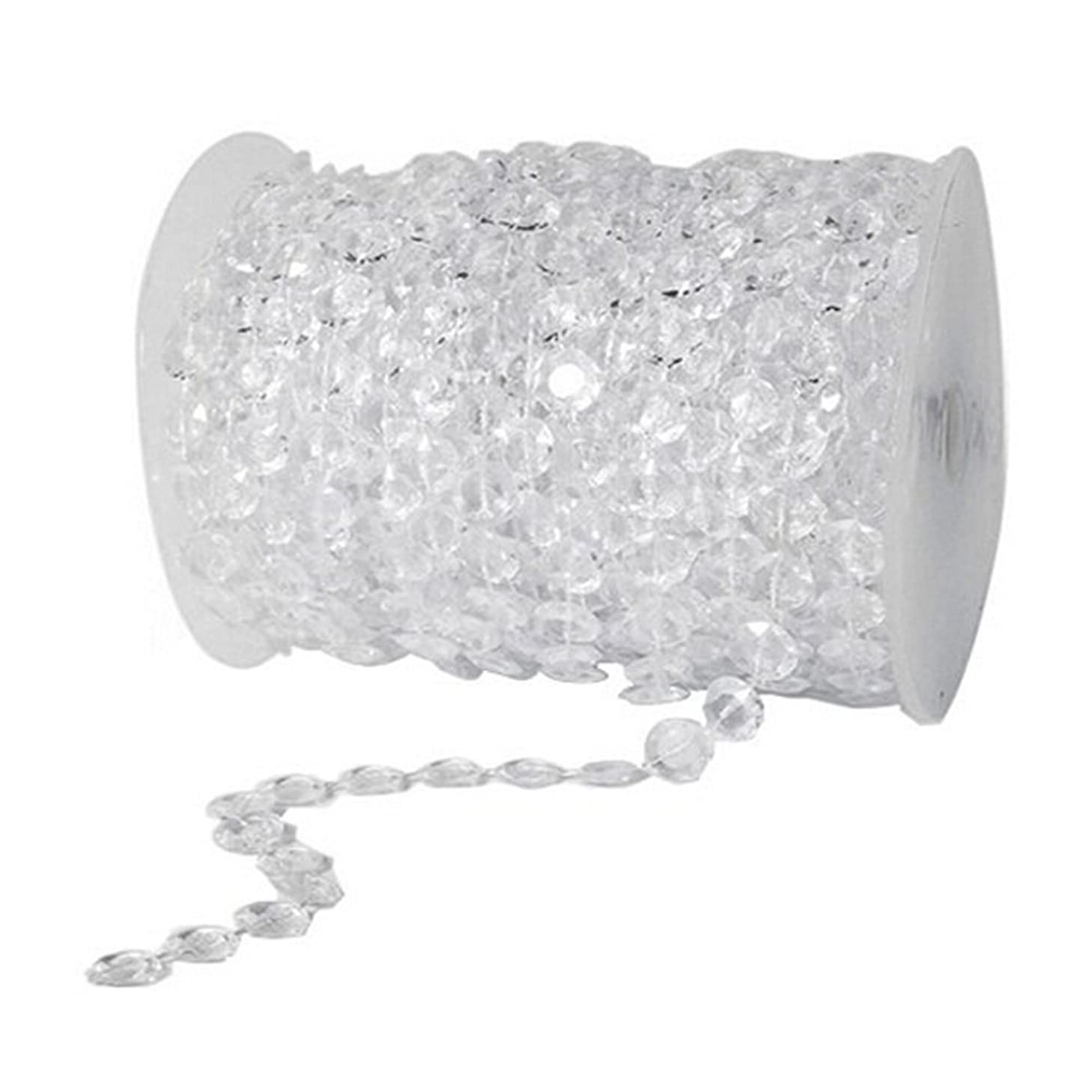 Equal Sign 99 ft Clear Crystal Like Beads by The roll for Flowers Wedding Party Decoration (White)