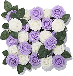 Meiliy 60pcs Artificial Flowers Lilac + Ivory Roses Real Looking Foam Roses Bulk w/Stem for DIY Wedding Bouquets Corsages Centerpieces Arrangements Baby Shower Cake Flower Decorations