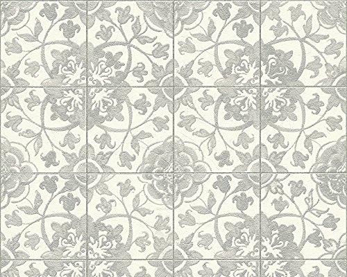 A.S. Création Tapete Faro in Fliesen Optik 10,05 m x 0,53 m grau weiß Made in Germany 962473 96247-3