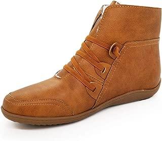 ANJUNIE Winter Warm Women's Bootie Ladies Retro Shoe Casual Footwaer Flat Boot Shoes