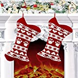 Dremisland Large Christmas Stockings Set of 2, 18'' Red Knit Dog Stockings with Bone Shape Personalized Stocking Pets Xmas Sock Sack Gift Bag Holiday Xmas Ornament Candy Pouch Bag