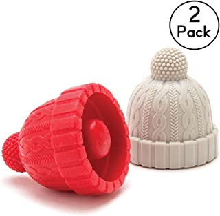 Beanie Cap Silicone Bottle Stopper, Set of Two, Novelty Cork Replacement, Beverage and wine Keeper, by Monkey Business (Blue/Gray; Red/Gray; See Color Options) (Red & Grey)