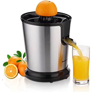 Homeleader Citrus Juicer, Stainless Steel Juice Squeezer, Electric Orange Juicer with Two Cones, Powerful Motor for Grapefruits, Orange and Lemon, Black