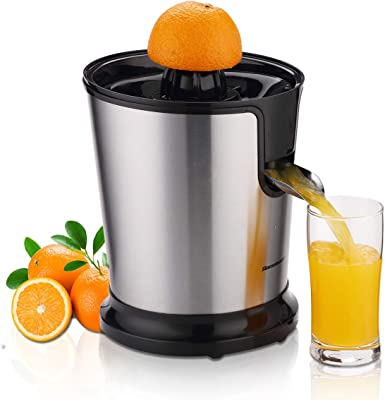 Homeleader Citrus Juicer Stainless Steel Juice Squeezer Electric Orange Juicer with Two Cones, Powerful Motor for Grapefruits, Orange and Lemon, Black
