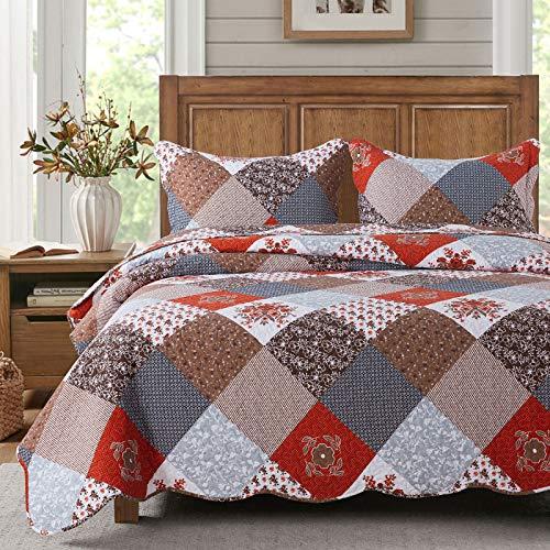 HoneiLife Bettwäsche-Set für King-Size-Betten, 3-teilig, Mikrofaser, wendbar, Patchwork-Bettwäsche-Set, leicht, Blumenmuster, für alle Jahreszeiten, Amaranth-Rot