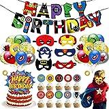 Set de 39 Kit de Decoraciones de Cumpleaños de Superhéroes,Globos de Superhéroe,Globos de Látex de Superhéroes, Suministros de Fiesta Temáticos de Superhéroes para los fanáticos de los cómics de