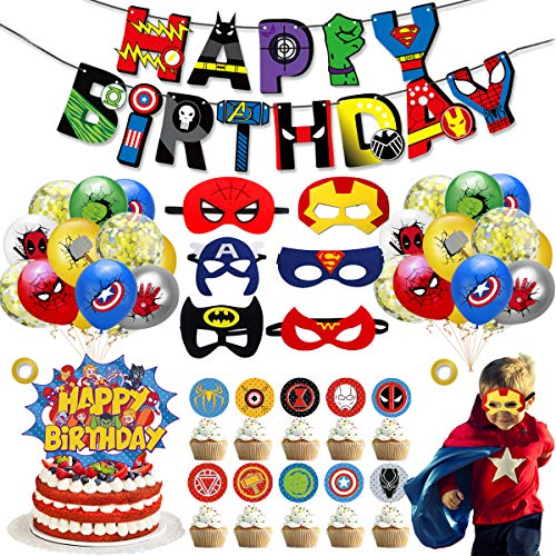 Set de 39 Kit de Decoraciones de Cumpleaños de Superhéroes,Globos de Superhéroe,Globos de Látex de Superhéroes, Suministros de Fiesta Temáticos de Superhéroes para los fanáticos de los cómics