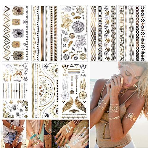 EQLEF Autocollants de Tatouages métalliques temporaires inimitables, 8 Feuilles de Tatouages de Bijoux Faux Corps Brillant pour Les Femmes Les Jeunes Filles