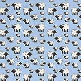 Stoff Baumwolle Meterware Jersey hellblau Schafe