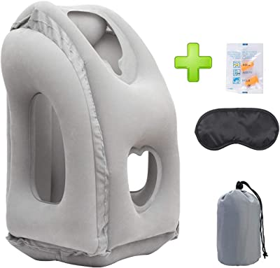 Travel Pillow Inflatable [UPGRADED] Portable Head Neck Rest Pillow for Airplane Ergonomic Design Flight Pillow for Office Napping Airline Traveling Bus Car Train Camping-Free Eye Mask&Earplug Included