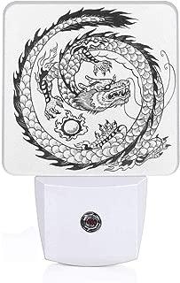 Colorful Plug in Night,Ethnic Asian Japanese Swirled Dragon Pattern Folk Heritage Spiritual Illustration,Auto Sensor LED Dusk to Dawn Night Light Plug in Indoor for Childs Adults