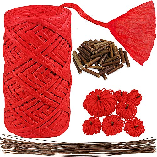Red Raffia Paper Ribbon Craft Ribbon Package Paper Twine Paper Rope Cord String Thick Paper Twist with Stem Wire Twigs for Floral Bouquets Gift Wrapping Bows Craft Weaving Party Christmas Decoration