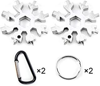 Snowflake Multi-Tool Stainless Steel Snowflake Keychain Tool 18-in-1 Incredible Tool Snowflake Screwdriver Tactical Tool for Outdoor Camping (2 Pack)