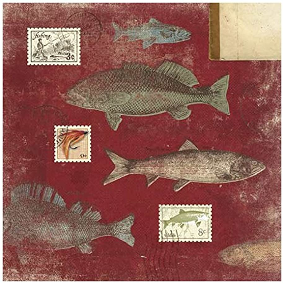 KAREN FOSTER Design Scrapbooking Paper, 25 Sheets, Red Fish Stamps, 12 x 12