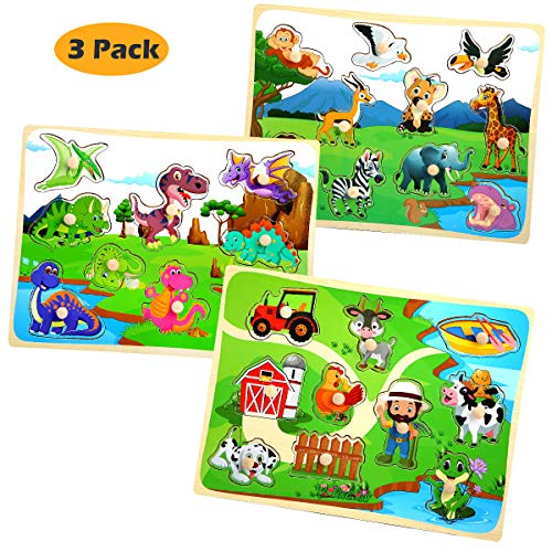 Wooden Puzzles for Toddlers Kids Ages 1 2 3 Years Old Set of 3 - Dinosaur, Safari, Farm Animal Pegged Puzzle Toy Color Shape Sorting Matching Learning Educational Toys for Preschool