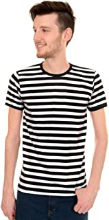 Mens Indie Retro 60's Black & White Striped Short Sleeve T Shirt
