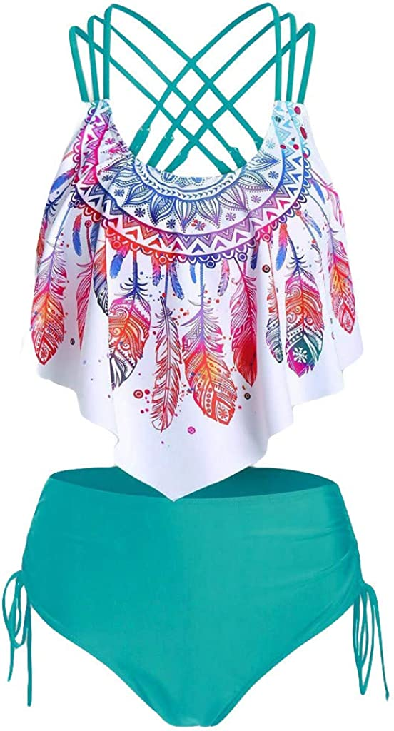 Xiloccer Best Womens Swimsuits Tankini Feather Print Push-Up Padded Bathing Suits Overlay Flounce Crisscross Swimwear