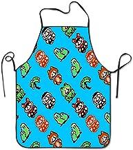 dfhfdsh Delantal de Cocina,Professional Chef Apron Personalised Apron Home Kitchen Cooking Aprons for Women Men - Super Mario Bros Overworld Blue Sky Waiter Apron