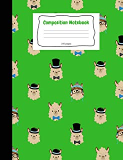 Primary Composition Notebook: Green Llama Story Journal Notebook. D'Nealian Ruled Handwriting Pages. Cute Composition Boo...