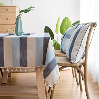 LINENLUX Striped Cotton Linen Tablecloth/Table Cover with Tassel Blue Navy Rectangle/Oblong 55 X 70 in