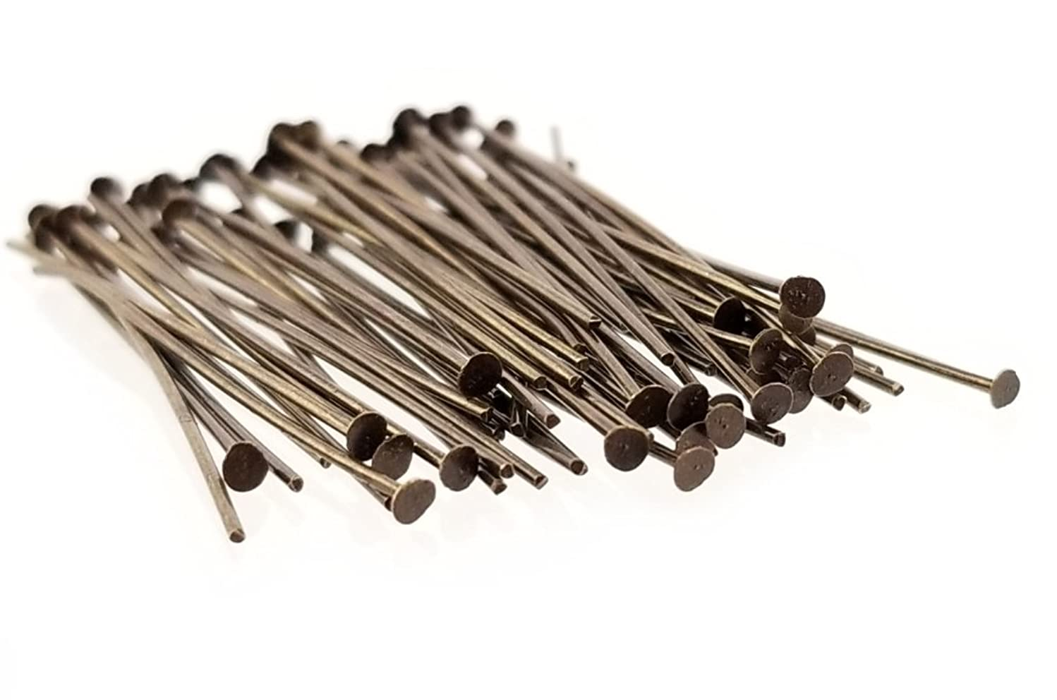 Antique Brass Bronze Small Flat Head Pins for Jewelry Making, Crafts- Nickel Free (35mm, 21 Gauge) 1.4 Inch