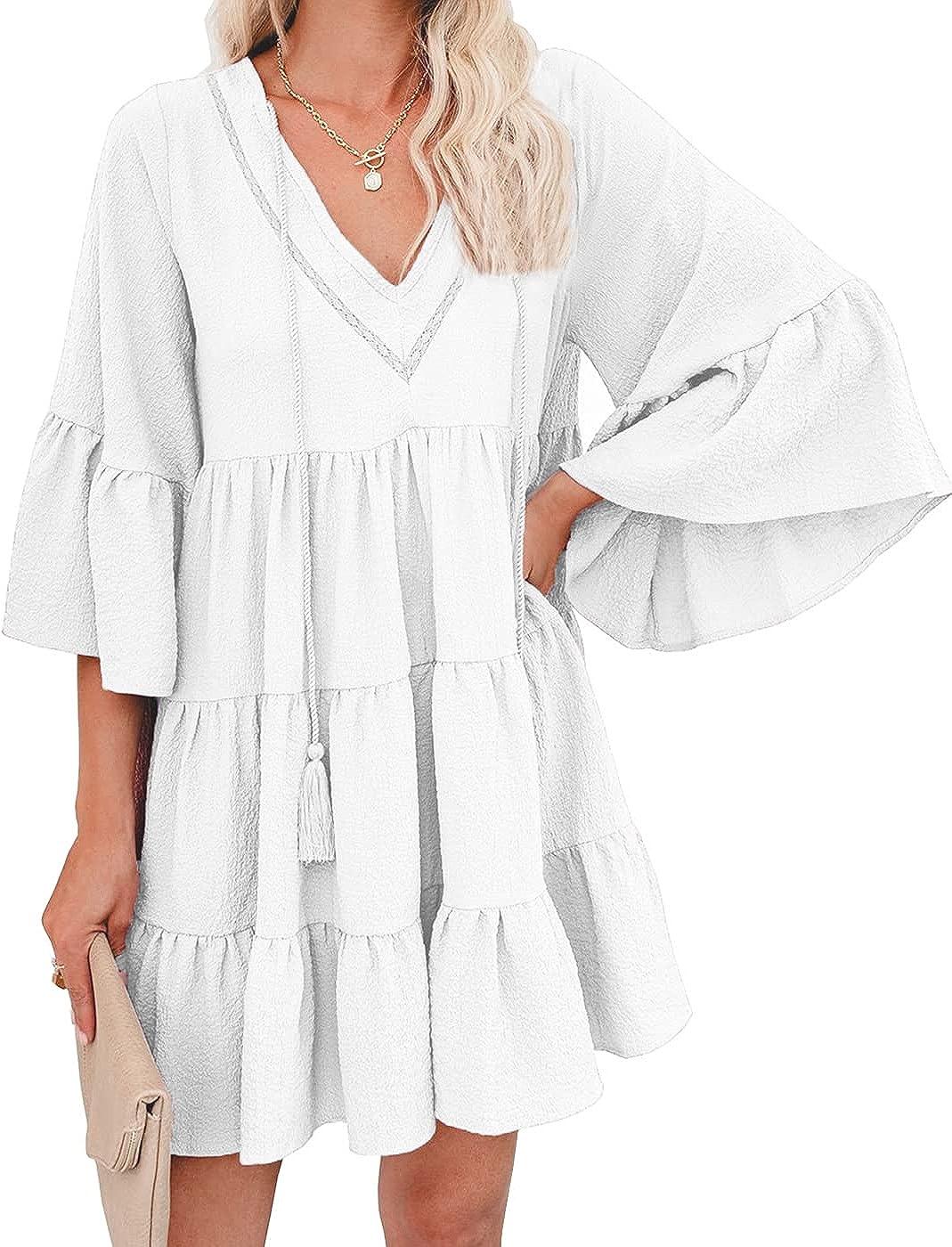 JSVZREU Womens Babydoll Dress Tiered Summer Casual Ruffle Bell Sleeve V Neck Dress Swing Flowy