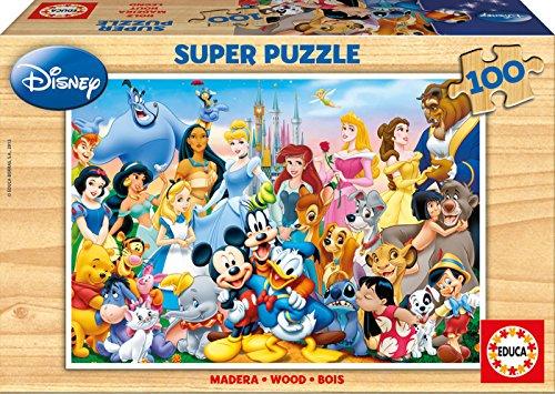 Educa 12002, Welt, 100 Teile Holzpuzzle, Kinderpuzzle ab 6 Jahren, Disney World ...
