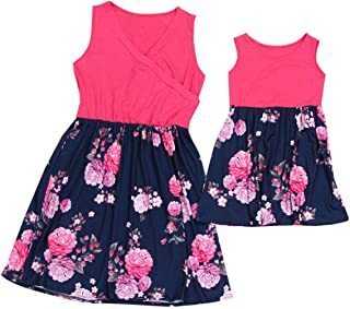 US Fashion Family Macthing Dress Mother Daughter Floral Skirt Sleeveless Short Rose Red Summer (L(Adult), Rose red+Floral)