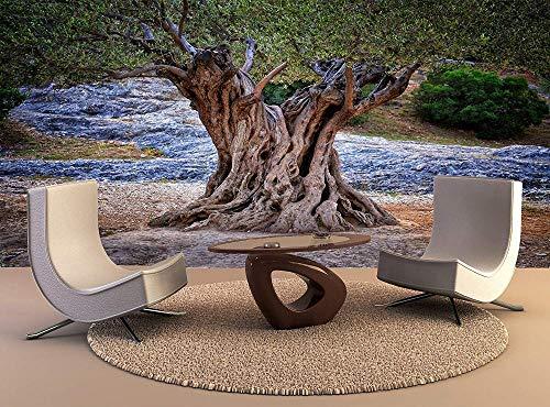 3D Murals Olivenbaum alten Stamm verzweigt sich Wurzeln Mauer Fresco Foto Fernseher Sofa Hintergrund Seide Wandmalerei,Kunst Tapeten für Wohnzimmer Schlafzimmer Einrichtung 200cm(W)x150cm(H)-4 Stripes