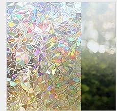 Pegatinas de pared de dormitorio película de vidrio electrostático sin pegamento patrón irregular vidriera refractada celo...